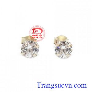 Bông tai gắn đá kim cương nhân tạo