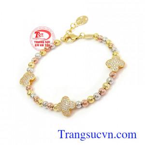 Lắc tay bi vàng xinh xắn thời trang, sang trọng Lắc tay bi vàng xinh xắn