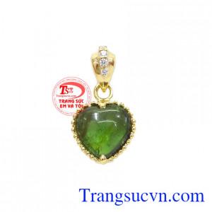 Mặt dây trái tim tourmalin thiên nhiên
