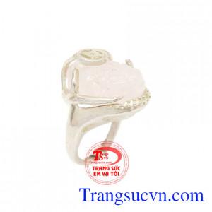 Nhẫn nữ bạc tỳ hưu thạch anh hồng