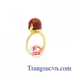 Nhẫn nữ đá san hô vàng 14k