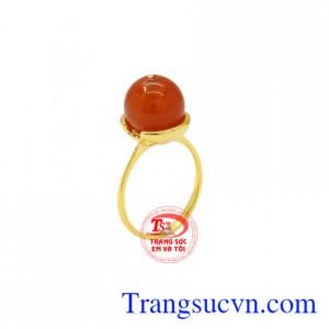 Nhẫn nữ mã não vàng 14k