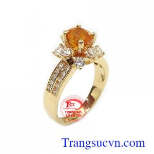 Nhẫn nữ Sapphire may mắn vàng 14k ché tác công nghệ cao, gắn đá Sapphire vàng sang trọng, đẳng cấp