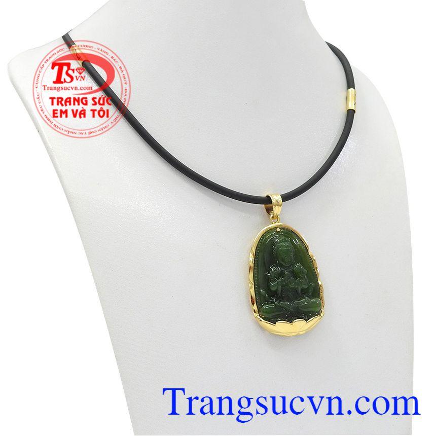 Bộ trang sức phật nepherite tuổi mùi-tuổi thân được chế tác từ ngọc cẩm thạch thiên nhiên và vàng tây 14k.
