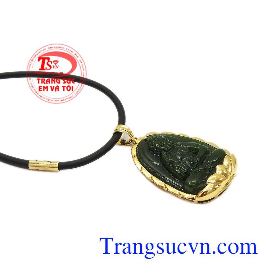 Sản phẩm bọc vàng giúp cho mặt đá được bền đẹp. Bộ trang sức phật nepherite tuổi tuất-tuổi hợi