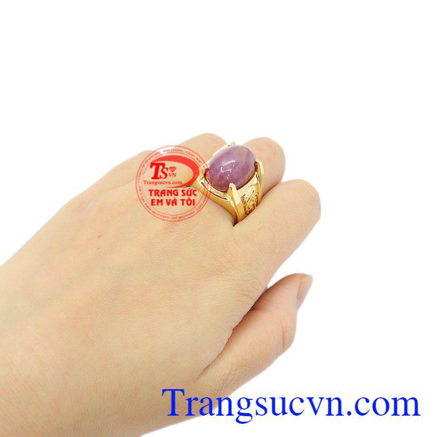 Nhẫn nam Ruby sao vàng 14k, giao hàng trên toàn quốc.