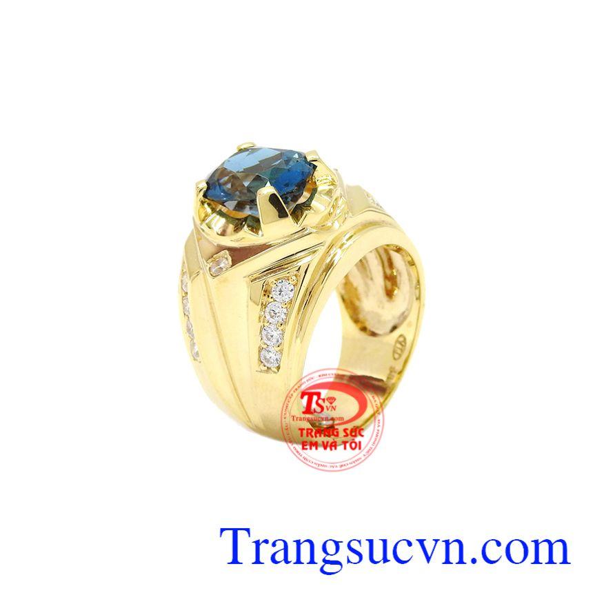 Nhẫn nam vàng Topaz thời trang