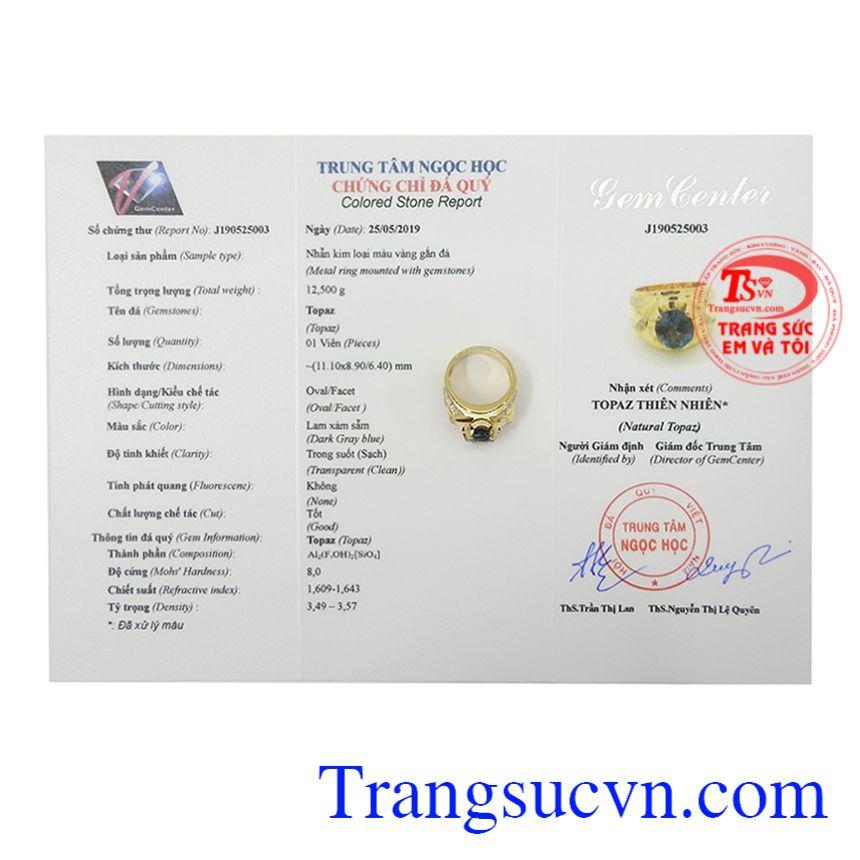 Nhẫn nam vàng Topaz thời trang giao hàng trên toàn quốc.