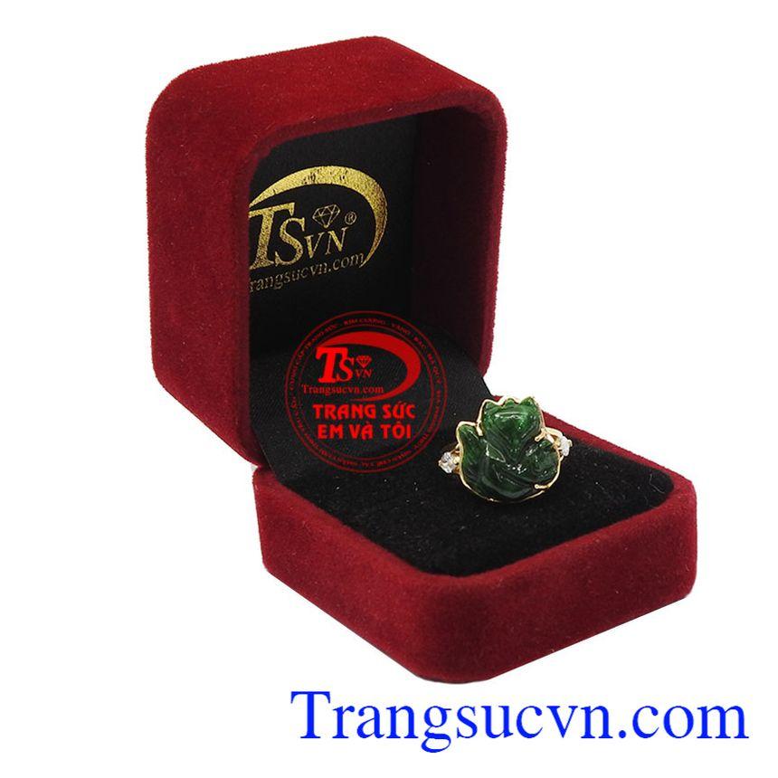 Nhẫn vàng màu tinh tế gắn Ngọc cẩm thạch, mang lại may mắn và hộ mệnh, Nhẫn nữ vàng tây dành cho phái đẹp