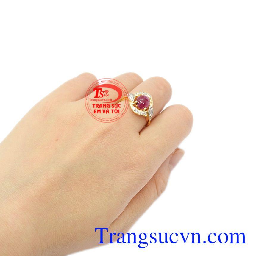 Nhẫn nữ Ruby quý phái thiên nhiên vàng 14k.
