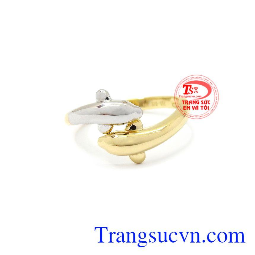 Nhẫn nữ vàng cá heo Korea dành cho những quý cô thích sự mới lạ, đáng yêu.