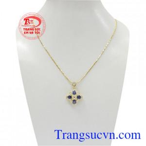 Bộ mặt dây Sapphire vàng 14k