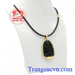 Bộ trang sức phật jadeite tuổi sửu-tuổi dần được kết hợp vàng tây 14k và ngọc cẩm thạch thiên nhiên.