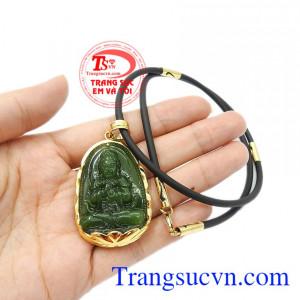 Mặt dây có thể kết hợp với dây chuyền vàng, dây da hoặc dây cao su bọc vàng. Bộ trang sức phật nepherite tuổi mùi-tuổi thân