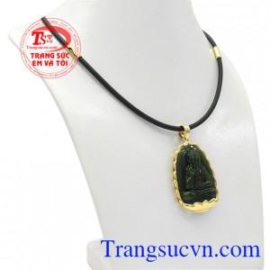 Bộ trang sức phật nepherite tuổi tuất-tuổi hợi được chế tác từ ngọc cẩm thạch thiên nhiên và vàng tây 14k.