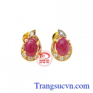Hoa tai Ruby vàng 14k quý phái