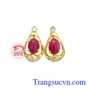 Hoa tai Ruby vàng 14k sang trọng