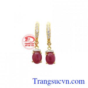 Hoa tai Ruby vàng 14k