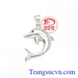 Mặt dây bạc cá heo