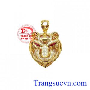 Mặt dây nam hổ cá tính được chế tác tinh xảo từ vàng 10k bền đẹp, chất lượng,Mặt dây nam hổ cá tính