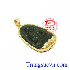 Mặt phật nepherite tuổi tuất-tuổi hợi được chế tác từ ngọc cẩm thạch thiên nhiên và vàng tây 14k.