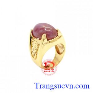Nhẫn nam Ruby sao vàng 14k có giấy kiểm định đá quý uy tín.