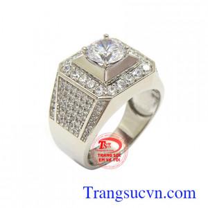 Nhẫn nam vàng trắng Hàn Quốc thời thượng vàng 10k nhập khẩu nguyên chiếc chất lượng, sang trọng và thời trang