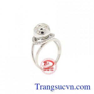 Nhẫn nữ bi vàng trắng