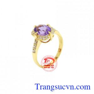 Nhẫn nữ đá thạch anh tím oval/Facet
