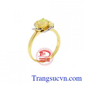 Nhẫn nữ Opal hoa hồng