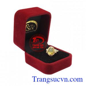 Nhẫn nữ vàng gắn đá Opal thiên nhiên dành cho phái đẹp, đeo hợp thời trang và quý phái