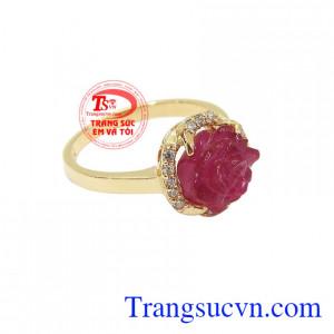 Nhẫn nữ vàng gắn đá quý ruby thiên nhiên dành cho phái đẹp, đeo hợp thời trang và quý phái