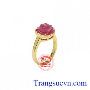 Nhẫn nữ Ruby vàng 14k dịu dàng