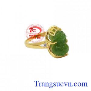 Nhẫn Tỳ Hưu Nephrite Thịnh Vượng vàng 14k, giao hàng nhanh trên toàn quốc