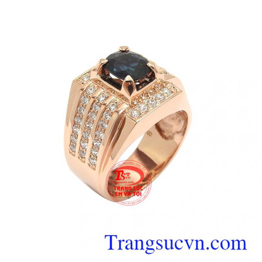 Nhẫn nam vàng hồng sapphire may mắn