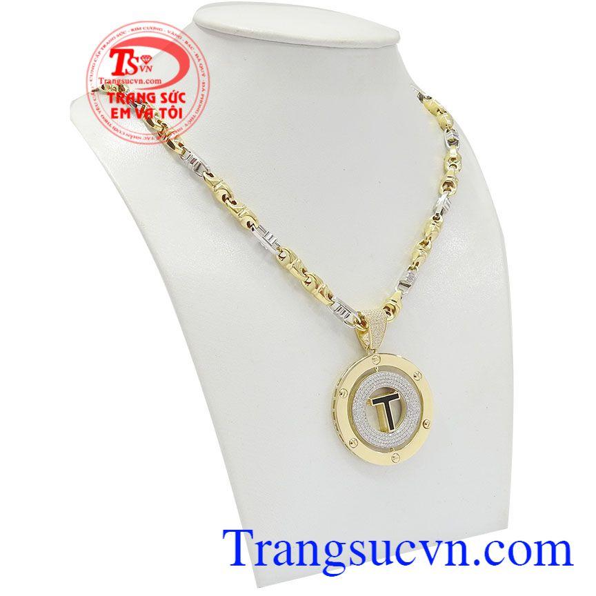 Bộ dây chuyền nam chữ T mang phong cách cá tính, thời trang