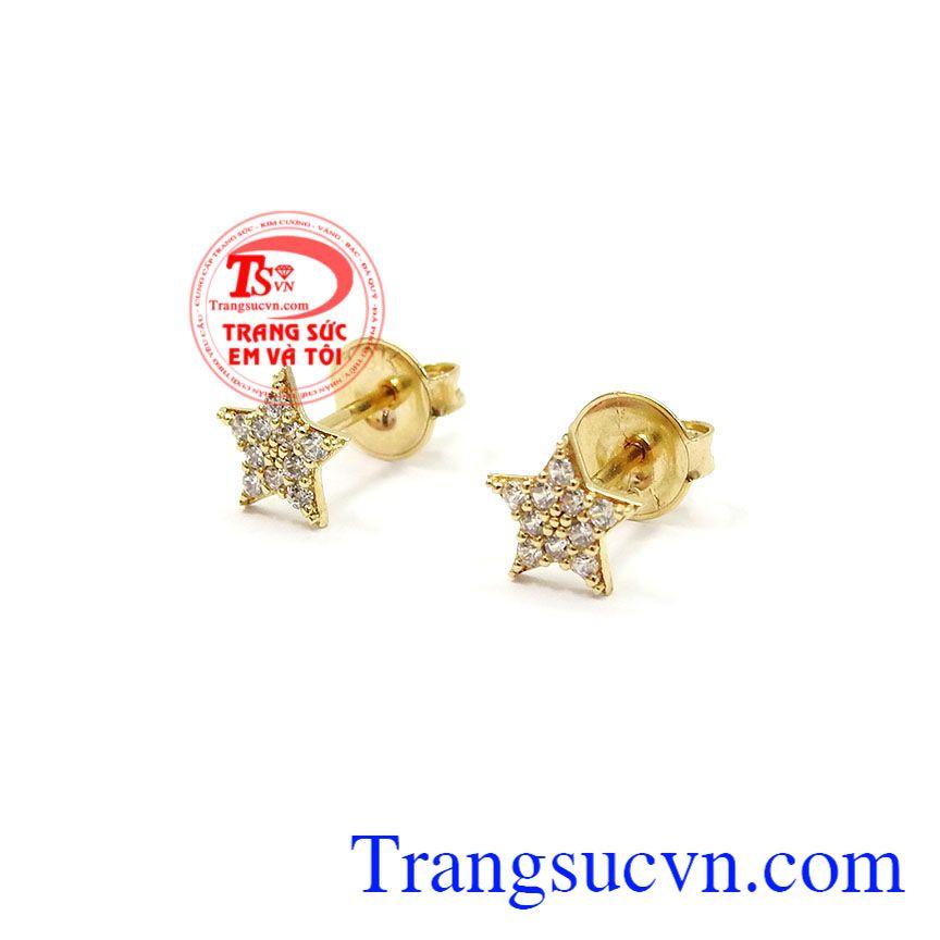 Đôi hoa tai nhỏ được chế tác từ vàng 10k, sáng bóng, bền đẹp,Hoa tai nữ vàng ngôi sao