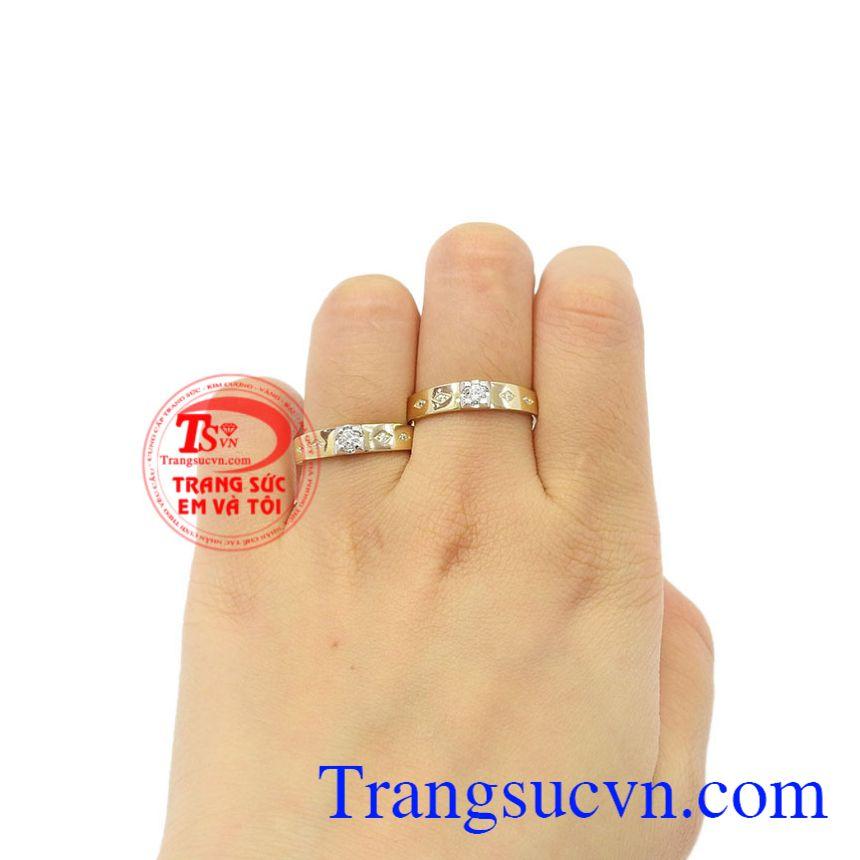 Nhẫn cưới vàng bên nhau trọn đời vàng 10k.