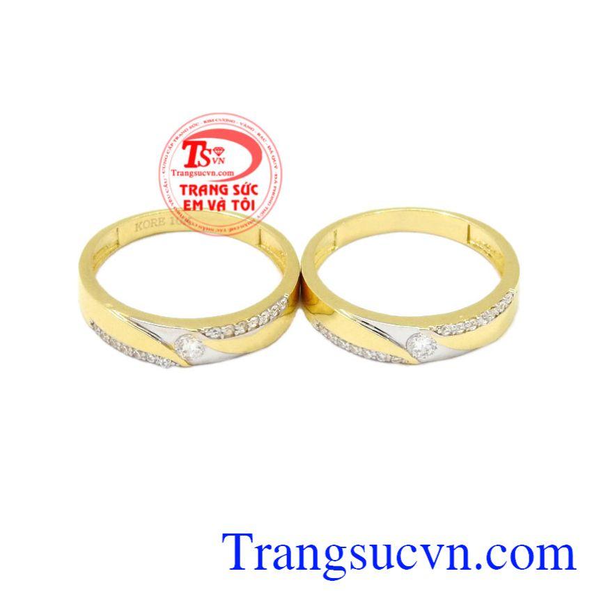 Nhẫn cưới vàng tình yêu lứa đôi Korea vàng 10k tinh tế.