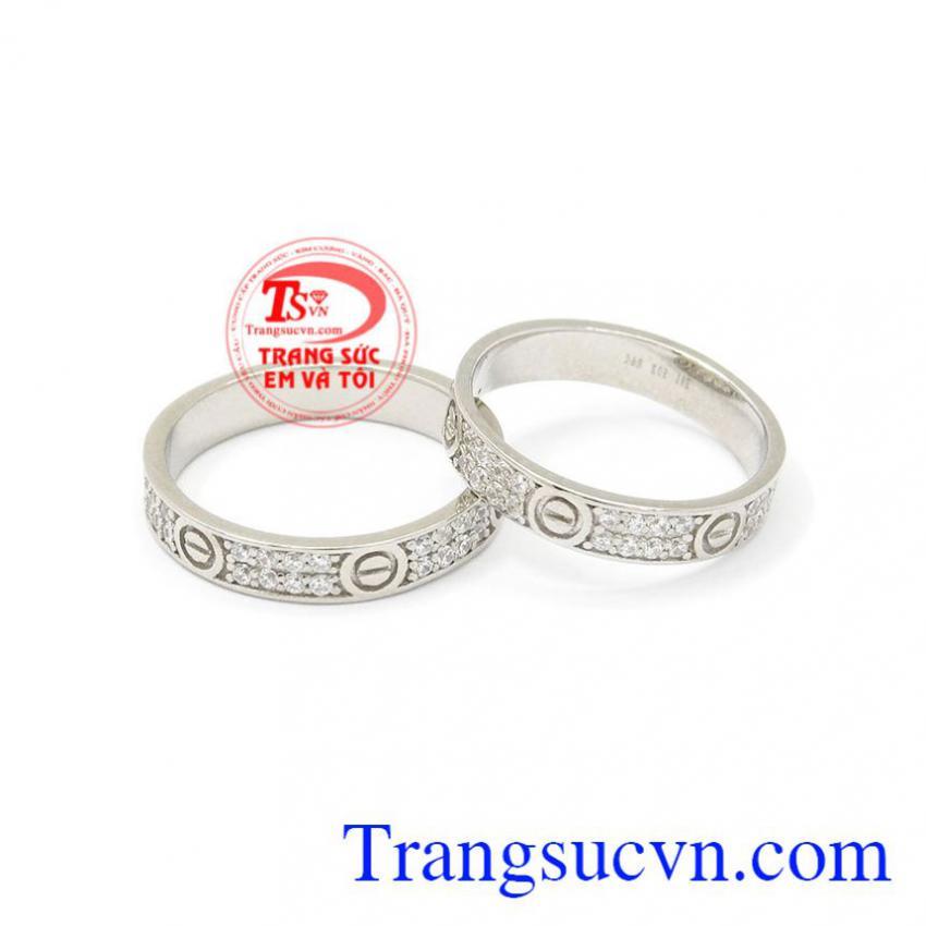 Nhẫn cưới vàng trắng Cartier