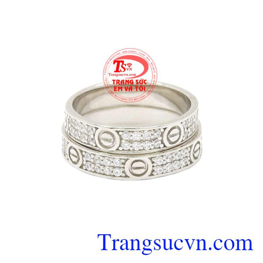 Nhẫn cưới vàng trắng Cartier nhập khẩu Korea đẹp.