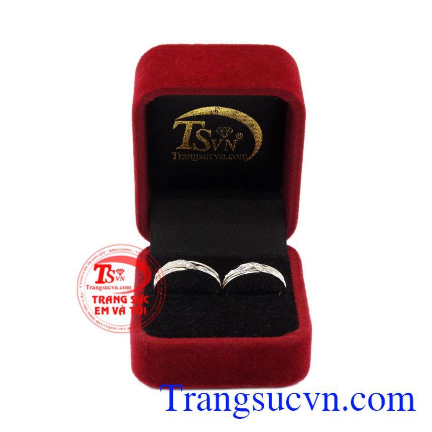Nhẫn cưới vàng trắng tinh tế vàng 10k