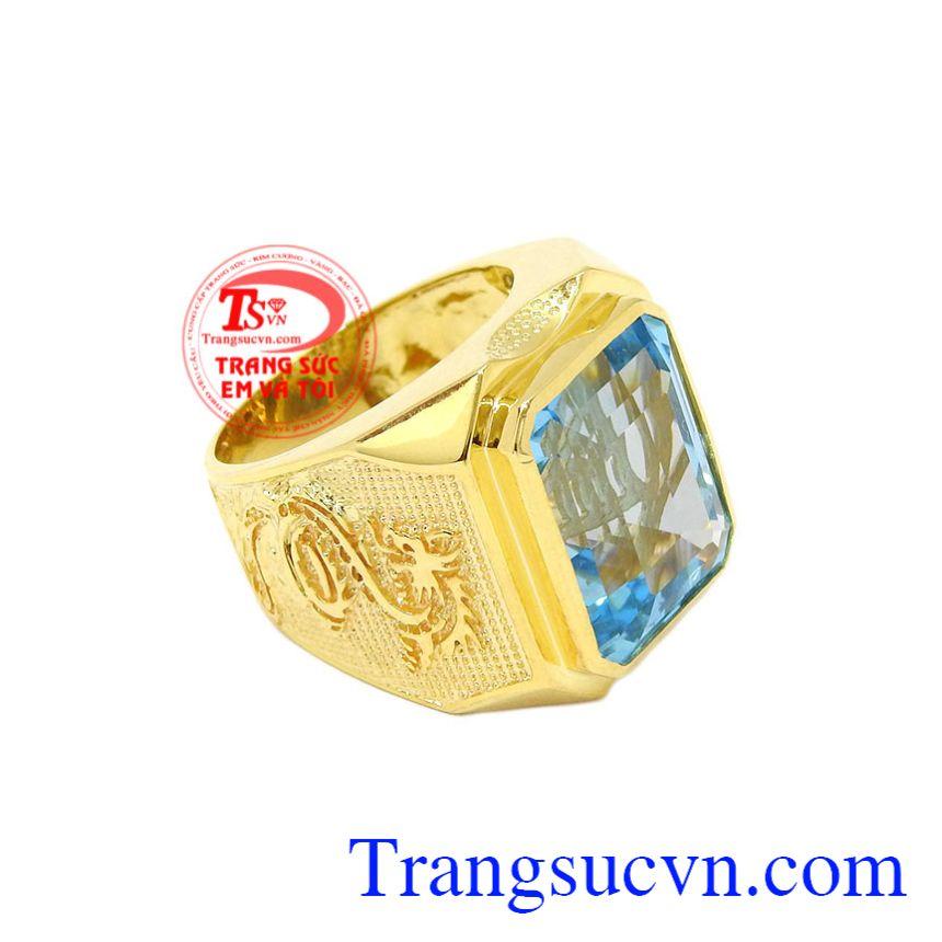 Nhẫn nam rồng vàng Topaz hợp thời trang, tinh tế.