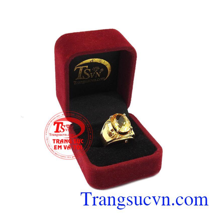 Nhẫn nam thạch anh vàng đẹp được bảo hành uy tín, giao hàng toàn quốc.