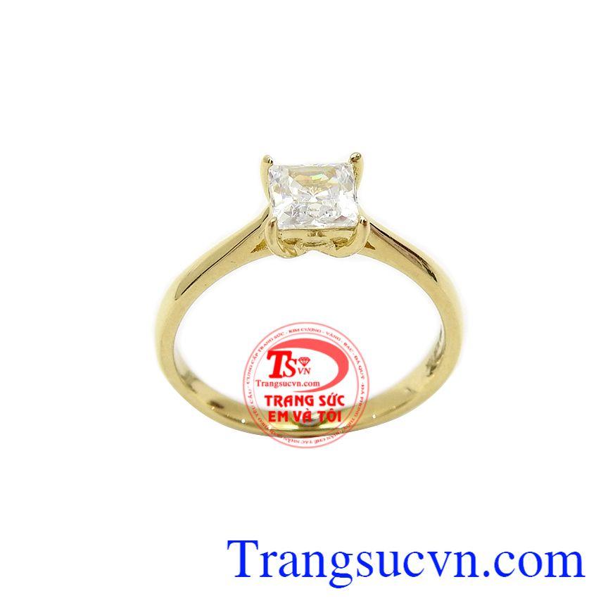 Nhẫn nữ vàng đẹp dịu dàng là sản phẩm được chế tác từ vàng 10k, nhập khẩu từ Korea