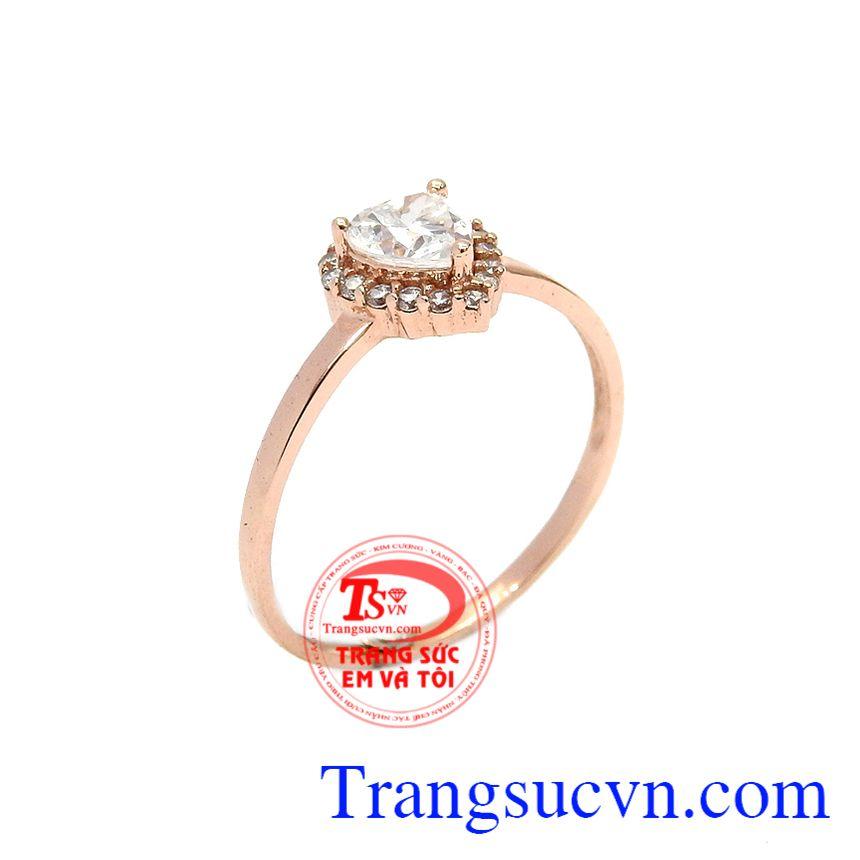 Nhẫn trái tim dễ thương vàng hồng
