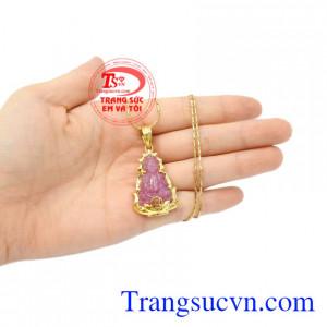 Bộ mặt dây ruby quan âm may mắn đem lại may mắn, bình an cho người đeo.