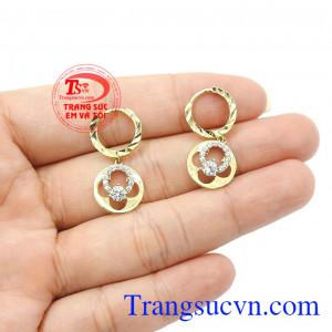 Hoa tai nữ vàng tinh tế chất lượng, bền đẹp, bảo hành 6 tháng,Hoa tai nữ vàng tinh tế