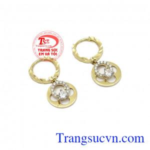Hoa tai nữ vàng tinh tế được thiết kế tinh tế, chất lượng,Hoa tai nữ vàng tinh tế