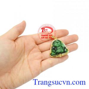 Mặt phật Di Lặc Jadeite thịnh vượng vàng 14 k chất lượng.